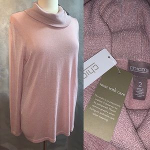 NWT Chico's 2 Pink Blush Cowl Neck Sweater Fiona